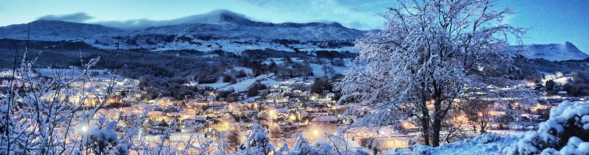 Dolgellau & Cader Idris on a Snowy Morning in December 2017