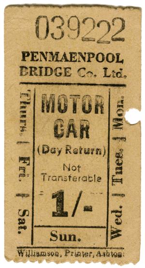 Old Penmaenpool Tollbridge Ticket